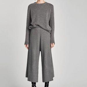 Zara Knot Ribbed Culotte Pants